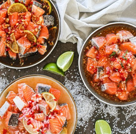 Uncooked - Mixed Diced Fillets Marinated in Salsa (500g)