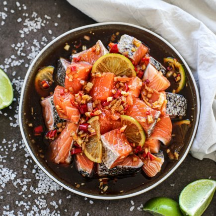 Uncooked - Marinated Diced Salmon in Ginger & Soy Sauce (500g)
